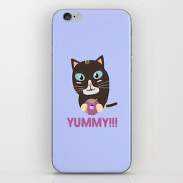 Cat with yummy Donut iPhone Skin