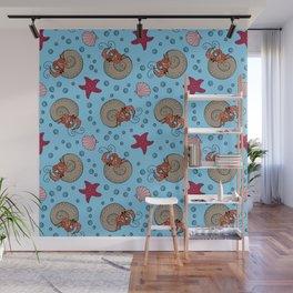 Hermit Crab Pattern Wall Mural