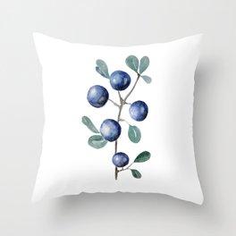 Blackthorn Blue Berries Throw Pillow