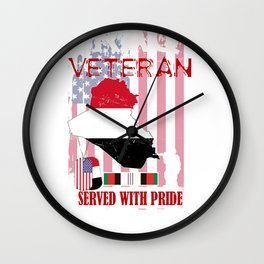 Iraq Veteran Memorial Day Veterans Day Gift Design Idea Wall Clock