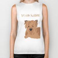 yorkie Biker Tanks featuring Yorkshire Terrier Dog Yorkie by ialbert
