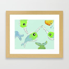 Here Comes the Narwahl!! Framed Art Print