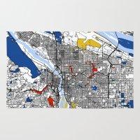 portland Area & Throw Rugs featuring Portland by Mondrian Maps