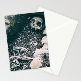 real skeleton halloween horizontal background with vintage horror effects Stationery Cards