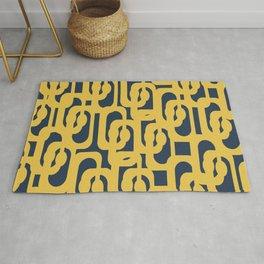 Mustard Yellow and Navy Blue Mid-Century Modern Loop Pattern Rug