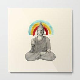 Buddha with rainbow - light Metal Print