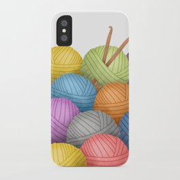 Two Crochet Hooks And A Lot Of Yarn iPhone Case