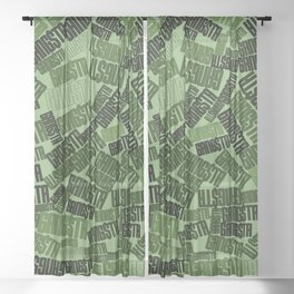 GANGSTA jungle camo / Green camouflage pattern with GANGSTA slogan Sheer Curtain