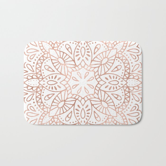Mandala Rose Gold Pink Shimmer by Nature Magick Bath Mat