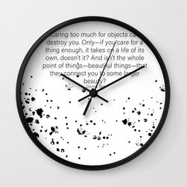 Caring too much for objects can destroy you- The Goldfinch Wall Clock