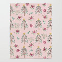 Christmas Pattern Pink Poster