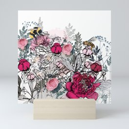 Beautiful vector illustration with peony flowers, herbs, plants and bees in vintage style Mini Art Print
