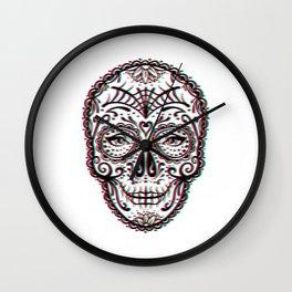 Sugar Skull (Calavera) Chromatic Aberration - Cyan Magenta Yellow Wall Clock