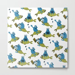 Funny Frogs Pattern Metal Print