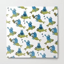 Funny Frogs Pattern Metal Print