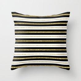 Gold Black White Stripe Pattern Throw Pillow