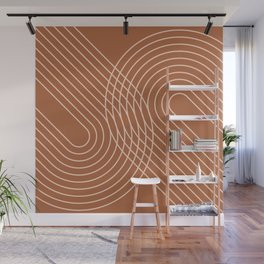 Geometric Lines in Earthy Shades Wall Mural