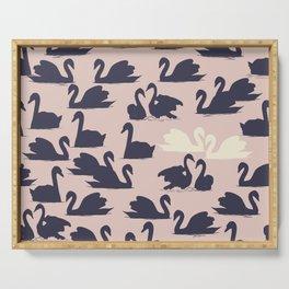 Blushing Swans Serving Tray