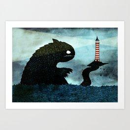 Lighthouse & Sea Monster Art Print