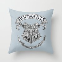 hogwarts Throw Pillows featuring Hogwarts by Cécile Pellerin