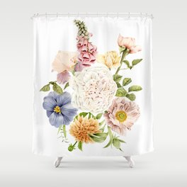 Radiant Blooms Watercolor Bouquet Shower Curtain
