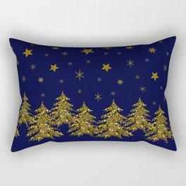 Sparkly Christmas tree, moon, stars Rectangular Pillow