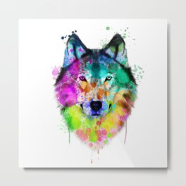 Wolf Watercolor, Wolf Painting, Wolf Portrait, Wolf art, Wolf illustration Metal Print