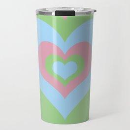 Radiating Hearts Pink, Blue, and Green Travel Mug