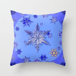 """BLUE SNOW ON SNOW"" BLUE WINTER ART Throw Pillow"