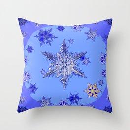 """BLUE SNOW ON SNOW"" BLUE WINTER ART Throw Pillow"