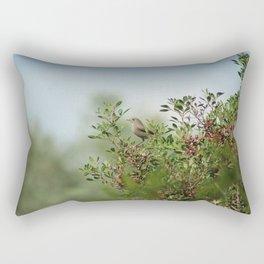 Little Grey Bird Perching on a Bush Rectangular Pillow