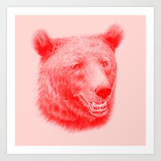 Brown bear is red and pink Art Print