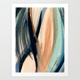 Waves - a pretty minimal watercolor abstract in blues, pinks, and browns Art Print