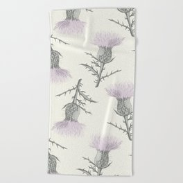 PASTEL THISTLE FLOWER Beach Towel