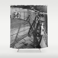 bicycles Shower Curtains featuring bicycles near the canal by habish