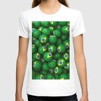 brazil T-shirts featuring BRAZIL FOOTBALLS by AMULET