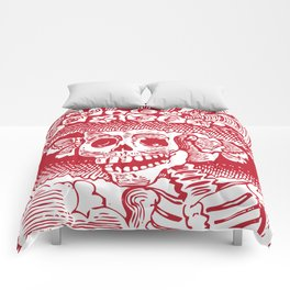 Calavera Catrina | Red and White Comforters
