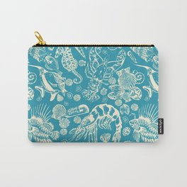 Sea Critters with Blue Background Carry-All Pouch