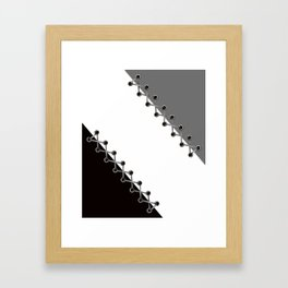Lacing . Black , white and grey . Framed Art Print