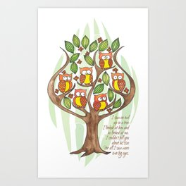 Owl Tree Art Print
