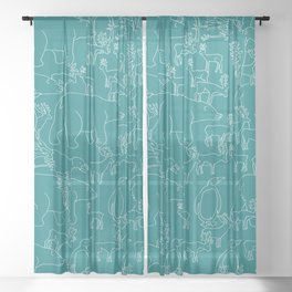 Global warming and animal migration 05 Sheer Curtain