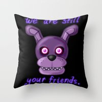 fnaf Throw Pillows featuring FNAF Bonnie by Bloo McDoodle