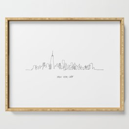 New York City Skyline Drawing Serving Tray