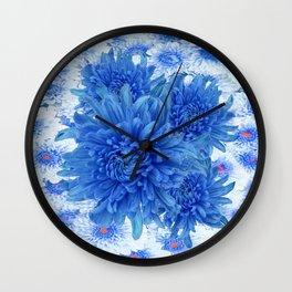 Oriental Style  Blue Chrysanthemums Garden Floral Pattern Wall Clock