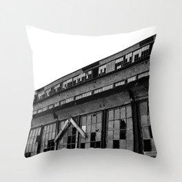 Bethlehem Steel plant windows in black and white Throw Pillow