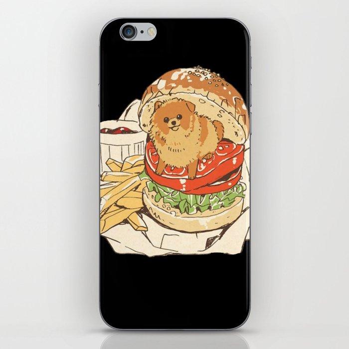 dog in hamburger iPhone Skin