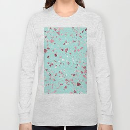 Turquoise and Rosegold Glitter Terrazzo Long Sleeve T-shirt