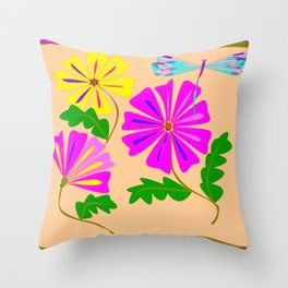 Three Summer Flowers with a Damselfly Throw Pillow