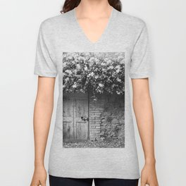 Old Italian wall overgrown with roses Unisex V-Neck