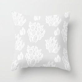 Prickly Pear Grey Cacti Throw Pillow